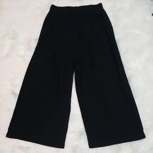 Eileen Fisher Black Silk Wide Leg Cropped XXS